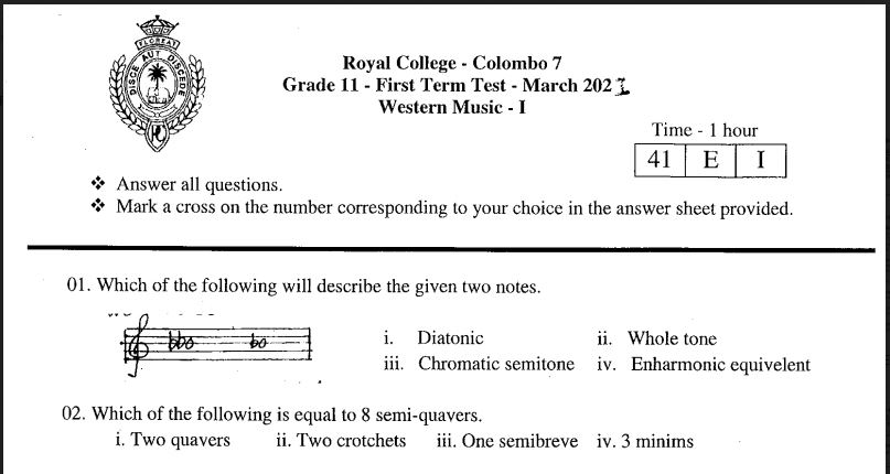 2021 First Term Western Music Paper (Royal Collage Exam papers)
