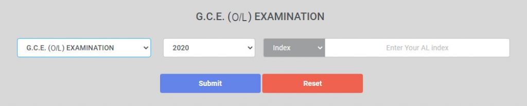2020 O/L Results - (2021 march) Type your index number here.