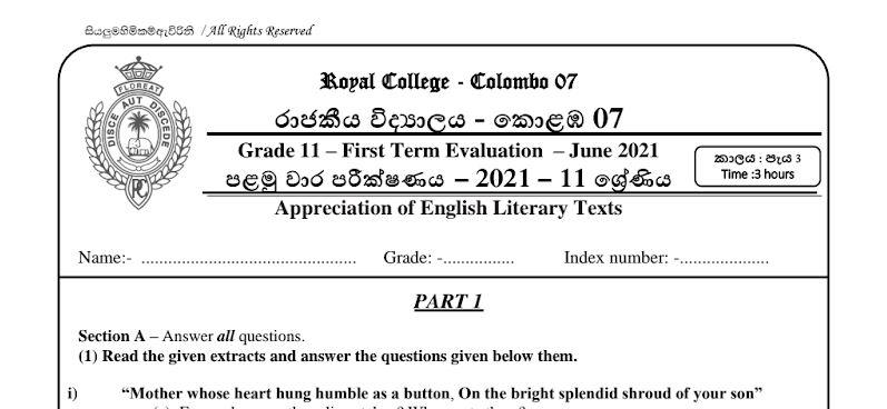 Appreciation of English Literary Texts (Paper Part I, II)