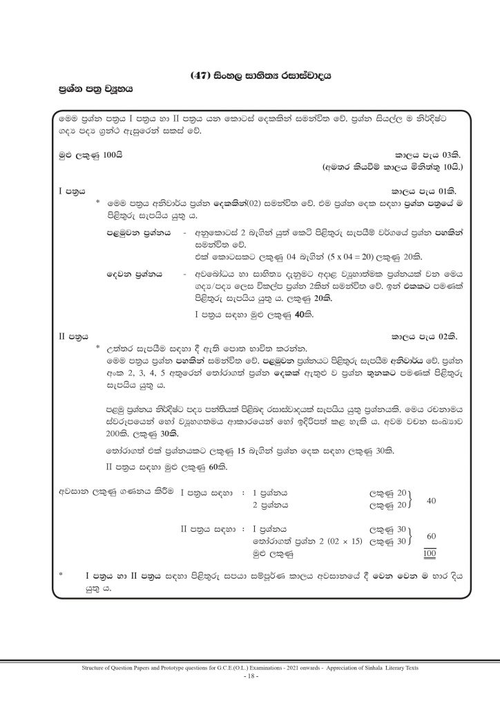 Structure of New Syllabus GCE Ordinary Level Sinhala Literature Paper