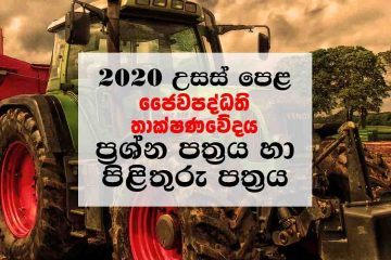 Download A/L 2020 BioSystems Technology Sinhala Medium Paper with Marking