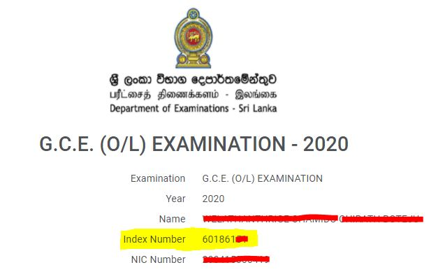 Exam Index Number Sample O/L, A/L & Grade 05 exam Sri Lanka doenets.lk