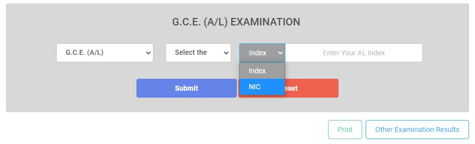 O/L, A/L or Scholarship examination number, give your National Identity Card number to check the results.